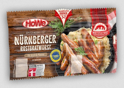 Packaging Example Nuremberg sausages for grill an pan