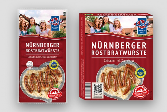 Packaging examples of Wolf Wurstspezialitäten: grilled and grilled with sauerkraut